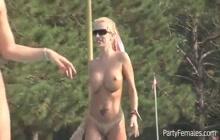 Sexy nude girls in public