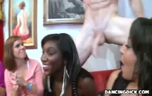 Crazy girls giving blowjobs to male strippers